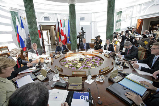 President George W. Bush participates in a working session at the G8 Summit in Strelna, Russia, Sunday, July 16, 2006. White House photo by Eric Draper
