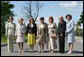 Spouses of G8 leaders pose for a photograph at Konstantinvosky Palace in Strelna, Russia, Sunday, July 16, 2006. From left, they are: Laura Bush; Bernadette Chirac, wife of French President Jacques Chirac; Sousa Uva Barroso, wife of European Commission President Jose Manuel Barroso; Flavia Franzoni, wife of Italian Prime Minister Romano Prodi, Lyudmila Putina, wife of Russian President Vladimir Putin; Laureen Harper, wife of Canadian Prime Minister Stephen Harper; and Cherie Booth, wife of United Kingdom Prime Minister Tony Blair. White House photo by Shealah Craighead