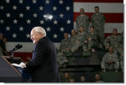 Vice President Dick Cheney addresses troops and families from the Iowa Air and Army National Guard, Monday, July 17, 2006, at Camp Dodge in Johnston, Iowa. During his remarks the Vice President thanked the troops for their efforts in the global war on terror. Approximately 7,500 soldiers from the Iowa Army and Air National Guard have served in Iraq and Afghanistan.  White House photo by David Bohrer