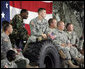 Soldiers from the Iowa Air and Army National Guard listen as Vice President Dick Cheney delivers remarks, Monday, July 17, 2006, at Camp Dodge in Johnston, Iowa. Camp Dodge, home of the National Maintenance Training Center, trains all of the Army, Army National Guard and Army Reserve maintenance companies in the United States. White House photo by David Bohrer