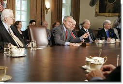 President George W. Bush meets bipartisan members of Congress Tuesday, July 18. 2006, in the Cabinet Room at the White House speaking about his recent trip to the G8 Summit in Russia. White House photo by Kimberlee Hewitt