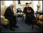 Vice President Dick Cheney meets with Lebanese Maronite Patriarch Cardinal Sfeir, Tuesday, July 18, 2006 in the West Wing at the White House. During the meeting the Vice President and the Patriarch discussed the situation in Lebanon. Patriarch Sfeir was concluding a tour of the United States before returning to the Middle East. White House photo by Paul Morse