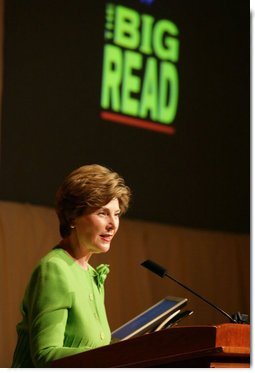 Mrs. Laura Bush delivers her remarks during the National Endowment for the Arts 'Big Read' event Thursday, July 20, 2006, at the Library of Congress in Washington. The 'Big Read' is a new program to encourage the reading of classic literature by young readers and adults.  White House photo by Shealah Craighead