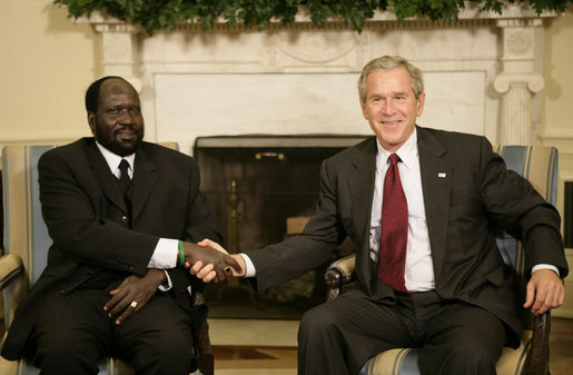 President George W. Bush welcomes Salva Kiir, the First Vice President of the Government of National Unity of Sudan and the President of Southern Sudan, during a meeting in the Oval Office Thursday, July 20, 2006. White House photo by Eric Draper