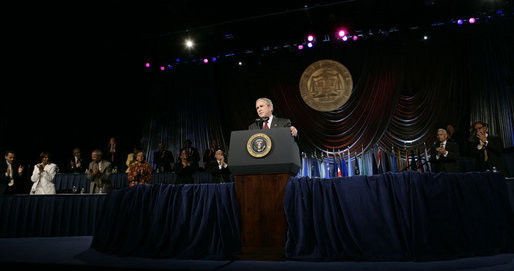 President George W. Bush receives a standing ovation during his remarks to the annual convention of the National Association for the Advancement of Colored People (NAACP), Thursday, July 20, 2006 in Washington, D.C. White House photo by Eric Draper
