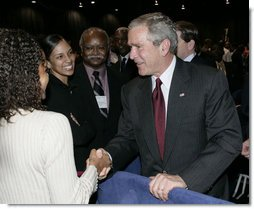 President George W. Bush meets delegates and guests at the annual convention of the National Association for the Advancement of Colored People (NAACP), following his remarks at the convention Thursday, July 20, 2006 in Washington, D.C. White House photo by Eric Draper