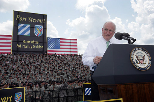 Vice President Dick Cheney delivers remarks, Friday, July 21, 2006, during a visit to Fort Stewart, Ga., home of the Army's 3rd Infantry Division. The 3rd Infantry Division just returned from their second deployment to Iraq, where they helped lead the 2003 invasion and supported the Iraqis during the 2005 votes for the Iraqi Constitution and permanent government. White House photo by David Bohrer