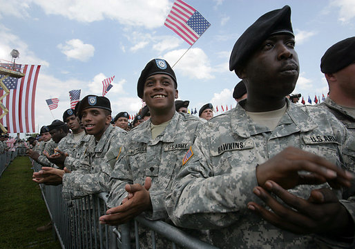 Soldiers applaud Vice President Dick Cheney as he delivers his remarks at a rally at Fort Stewart, Ga., Friday, July 21, 2006. During his address the Vice President recognized the Georgia National Guard's 48th Brigade Combat Team who returned to Fort Stewart in May after serving one year in Iraq. While based in Baghdad the 48th Brigade Combat Team trained the Iraqi Security Force's 4th Army Brigade. White House photo by David Bohrer