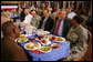 President George W. Bush and Iraqi Prime Minister Nouri al-Maliki share some conversation and lunch with military personnel Wednesday, July 26, 2006, at Fort Belvoir, Va. White House photo by Paul Morse
