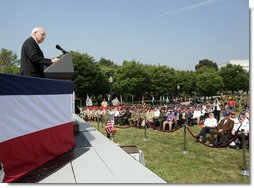 "Vice President Dick Cheney delivers remarks, Thursday, July 27, 2006, at the 2006 Korean War Veterans Armistice Day Ceremony held at the Korean War Memorial on the National Mall in Washington, D.C. ""On this anniversary, gathered at this place of remembrance and reflection, our thoughts turn to a generation of Americans who lived and breathed the ideals of courage and honor, service and sacrifice,"" the Vice President said. ""Our Korean War veterans heard the call of duty, stepped in to halt the advance of totalitarian ideology, and fought relentlessly and nobly in a brutal war. With us this morning are some of the very men and women who served under Harry Truman and Dwight Eisenhower, and went into battle under the command of Douglas MacArthur, Matthew Ridgway, and Raymond Davis.""  White House photo by David Bohrer"