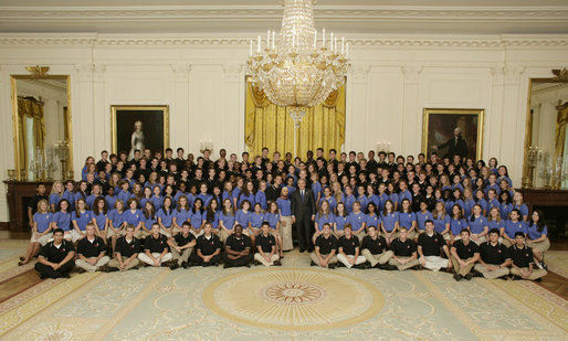 President George W. Bush poses for a photo with the 2006 Boys and Girls Nation delegates Friday, July 28, 2006, in the East Room of the White House. The Boys and Girls Nation, sponsored by the American Legion, meet annually in Washington, D.C. to gain practical insight into the operation of the Federal Government. White House photo by Paul Morse