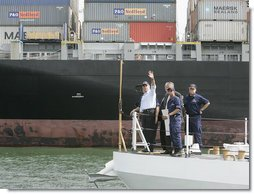 President George W. Bush tours the Port of Miami Monday, July 31, 2006, following his speech on America's economy at the U.S. Coast Guard Integrated Support Command facility in Miami. White House photo by Kimberlee Hewitt