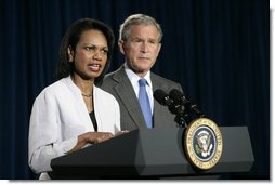 Secretary of State Condoleezza Rice answers questions on the Middle East during a news conference with President George W. Bush Monday, Aug. 7, 2006, in Crawford, Texas.  White House photo by Eric Draper