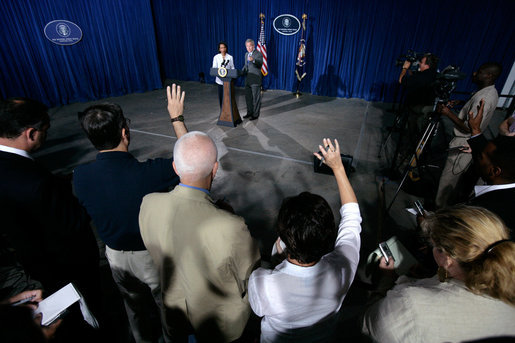 President George W. Bush and Secretary of State Condoleezza Rice take questions during a news conference Monday, Aug. 7, 2006, in Crawford, Texas. White House photo by Eric Draper