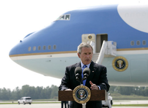 "President George W. Bush addresses reporters upon his arrival to Austin Straubel International Airport in Green Bay, Wis., Thursday, Aug. 10, 2006 , on the airline bombing plot uncovered in the United Kingdom. President Bush said it is ""a stark reminder that this nation is at war with Islamic fascists who will use any means to destroy those of us who love freedom, to hurt our nation."" White House photo by Eric Draper"