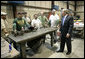 President George W. Bush praised small businesses in America as being vital to the economic growth of the country Thursday, Aug. 10, 2006, during his tour and visit with employees at Fox Valley Metal-Tech in Green Bay, Wis. White House photo by Eric Draper