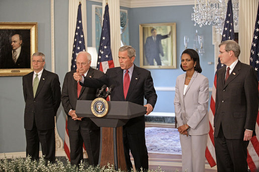 "President George W. Bush addresses the media from the U.S. State Department after a series of meetings today discussing America's foreign policy Monday, August, 14, 2006. ""Friday's U.N. Security Council resolution on Lebanon is an important step forward that will help bring an end to the violence,"" said the President. ""The resolution calls for a robust international force to deploy to the southern part of the country to help Lebanon's legitimate armed forces restore the sovereignty of its democratic government over all Lebanese territory."" White House photo by Eric Draper"