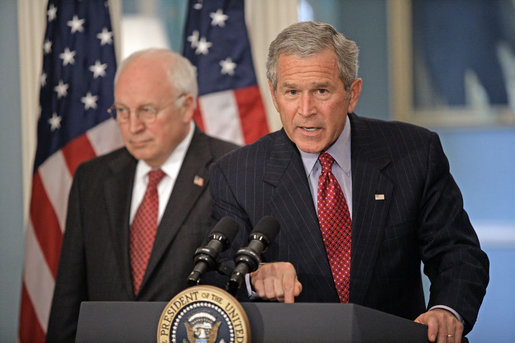 "President George W. Bush addresses the media at the U.S. State Department after a series of meetings today discussing America's foreign policy Monday, August, 14, 2006. ""America recognizes that civilians in Lebanon and Israel have suffered from the current violence, and we recognize that responsibility for this suffering lies with Hezbollah. It was an unprovoked attack by Hezbollah on Israel that started this conflict,"" said President Bush. ""Hezbollah terrorists targeted Israeli civilians with daily rocket attacks. Hezbollah terrorists used Lebanese civilians as human shields, sacrificing the innocent in an effort to protect themselves from Israeli response."" White House photo by Eric Draper"