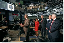 President George W. Bush addresses the media at the National Counterterrorism Center in McLean, Va., Aug. 15, 2006. Standing with President Bush are, from left: White House Homeland Security Advisor Frances Townsend; Director of National Intelligence John Negroponte; CIA Director Michael Hayden; and Director of the National Counterterrorism Center Vice Admiral John Scott Redd.  White House photo by Paul Morse