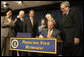 "President George W. Bush signs into law H.R. 4, the Pension Protection Act of 2006, Thursday, Aug. 17, 2006. Joining him onstage in the Eisenhower Executive Office Building are, from left: Secretary of Labor Elaine Chao; Rep. Buck McKeon of California; Rep. John Boehner of Ohio; Senator Blanche Lincoln, D-Ark.; Senator Michael Enzi, R-Wyo., and Rep. Bill Thomas of California. Said the President, ""Americans who spend a lifetime working hard should be confident that their pensions will be there when they retire."" White House photo by Kimberlee Hewitt"