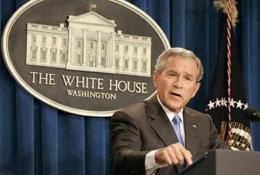 "President George W. Bush emphasizes a point as he responds to a question Monday, Aug. 21, 2006, during a news conference at the White House Conference Center Briefing Room. He told the gathered media ""America is making a long-term commitment to help the people of Lebanon because we believe every person deserves to live in a free, open society that respects the rights of all."" White House photo by Paul Morse"