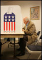 Vice President Dick Cheney votes in the Wyoming state primary election, Tuesday, August 22, 2006, at the fire station in his hometown of Wilson, Wyo. White House photo by David Bohrer