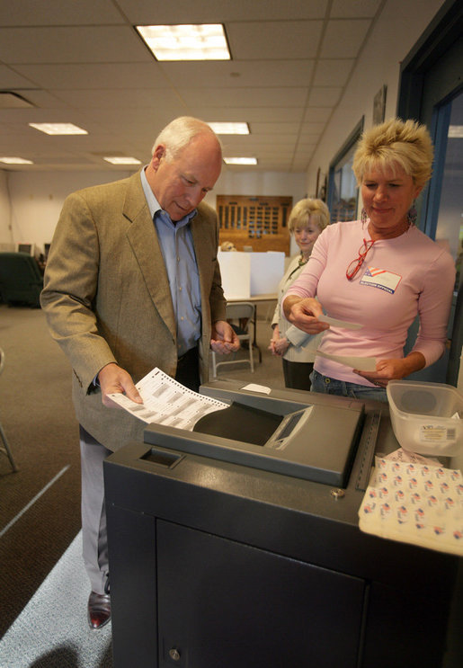 Vice President Dick Cheney casts his ballot, Tuesday, August 22, 2006, at the fire station in Wilson, Wyo. for the Wyoming state primary election. He and his wife Lynne Cheney voted early this morning. White House photo by David Bohrer