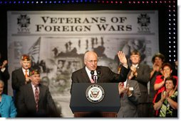 Vice President Dick Cheney is welcomed by members of the Veterans of Foreign Wars of the U.S., Monday, August 28, 2006, at the VFW's annual convention in Reno, Nevada. White House photo by David Bohrer