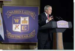 President George W. Bush addresses students, faculty and guests Tuesday, Aug. 29, 2006, at Warren Easton Senior High School in New Orleans on the importance of rebuilding schools and school libraries in hurricane ravaged communities, as the Gulf Coast region marked the one- year anniversary of Hurricane Katrina.  White House photo by Eric Draper