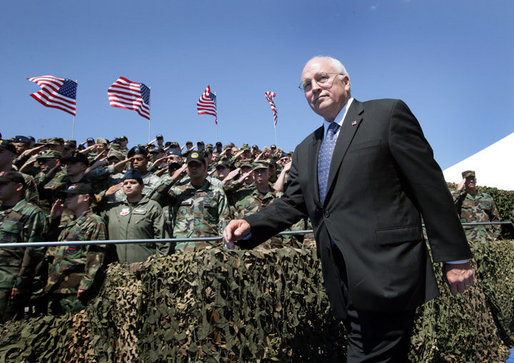 Vice President Dick Cheney is saluted by military personnel upon his arrival to a rally for the troops, Tuesday, August 29, 2006, at Offutt Air Force Base in Omaha, Neb. Offutt Air Force Base is home to the U.S. Strategic Command Headquarters and the Fighting 55th Wing, the largest wing in the Air Combat Command and the second largest in the Air Force. White House photo by David Bohrer
