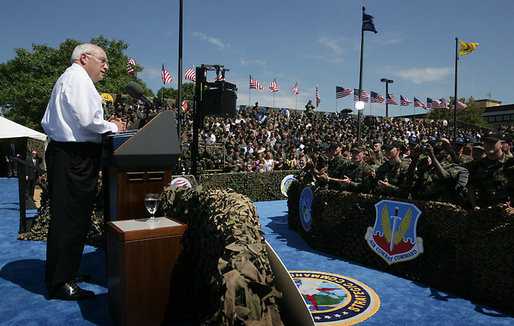 "Vice President Dick Cheney addresses over 8,000 military and civilian personnel and their families, Tuesday, August 29, 2006, at Offutt Air Force Base in Omaha, Neb. ""Every day you go on duty, you make this nation safer, and you show the world that the people who wear this country's uniform are men and women of skill, and perseverance, and honor,"" the Vice President said. ""Standing here today, in the great American heartland, I want to thank each and every one of you for the vital work you do, and for your example of service and character."" White House photo by David Bohrer"