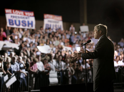 President George W. Bush speaks to a crowd of nearly 2000 people during an airport welcome at the Utah Air National Guard in Salt Lake City, Utah, Aug. 30, 2006. White House photo by Eric Draper