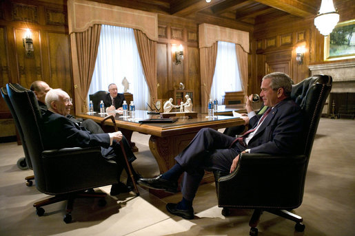 President George W. Bush meets with the leadership of the Church of Jesus Christ of Latter-day Saints Thursday, Aug. 31, 2006, during his visit to Salt Lake City. Seated clockwise are: Gordon B. Hinckley, President; Thomas Monson, First Counselor; James Faust, Second Counselor (obscured), and Frank Watson, Executive Secretary. White House photo by Eric Draper