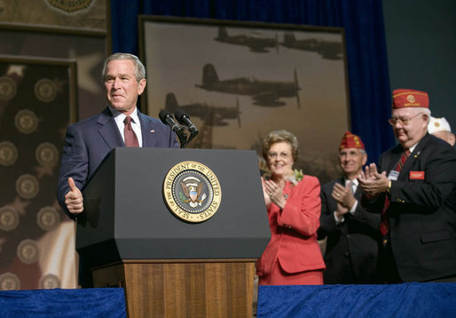 "President George W. Bush addresses the 88th Annual American Legion National Convention Thursday, Aug. 31, 2006, in Salt Lake City. The President told the audience, ""As veterans, all of you stepped forward when America needed you most. And we owe you more than just thanks."" White House photo by Eric Draper"