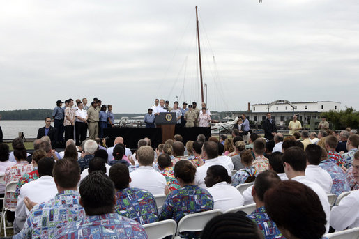President George W. Bush delivers a Labor Day speech at the Paul Hall Center for Maritime Training and Education in Piney Point, Md., Monday September 4, 2006. White House photo by Kimberlee Hewitt