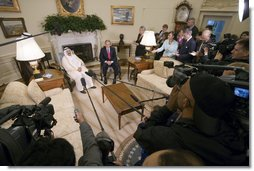 President George W. Bush and His Highness Sheikh Sabah Al-Ahmed Al-Jaber Al-Sabah of Kuwait meet with the press in the Oval Office Tuesday, Sept. 5, 2006. White House photo by Eric Draper
