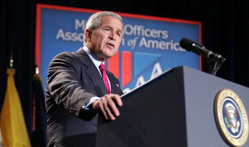 "President George W. Bush addresses his remarks on the global war on terror to members and guests at the Military Officers Association of America meeting Tuesday, Sept. 5, 2006, at the Capital Hilton Hotel in Washington. President Bush spoke about the U.S. and our allies strategy for combating terrorism saying ""we're confronting them before they gain the capacity to inflict unspeakable damage on the world, and we're confronting their hateful ideology before it fully takes root."" White House photo by Kimberlee Hewitt"
