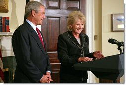 President George W. Bush's nominee for Secretary of Transportation Mary Peters addresses the media during the announcement in the Roosevelt Room Tuesday, Sept. 5, 2006.  White House photo by Shealah Craighead