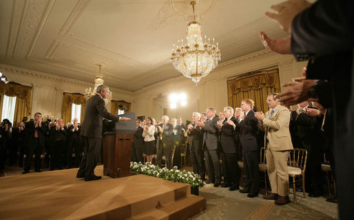 "President George W. Bush receives a standing ovation in the East Room of the White House Wednesday, Sept. 6, 2006, during his remarks on the global war on terror. Said the President, ""Like the struggles of the last century, today's war on terror is, above all, a struggle for freedom and liberty."" White House photo by Eric Draper"