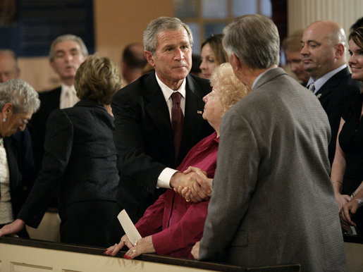 President George W. Bush talks with John and Jane Vigiano after the Service of Prayer and Remembrance at St. Paul's Chapel near Ground Zero in New York City Sunday, September 10, 2006. The Vigiano family lost two sons, a police detective and a firefighter, in the terrorist attacks of September 11, 2001. White House photo by Eric Draper