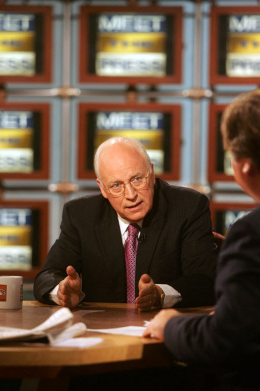 Vice President Dick Cheney is interviewed by Tim Russert during a taping of NBC's 'Meet the Press' at NBC studios in Washington, D.C., Sunday, September 10, 2006. White House photo by David Bohrer