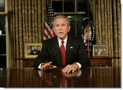 "President George W. Bush addresses the nation from the Oval Office Monday evening, Sept. 11, 2006, marking the fifth anniversary of the attacks of Sept. 11, 2001. President Bush said, ""The war against this enemy is more than a military conflict. It is the decisive ideological struggle of the 21st century and the calling of our generation.""  White House photo by Eric Draper"