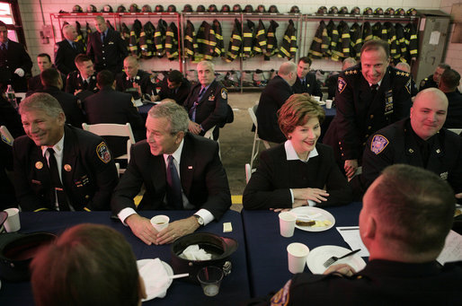 President George W. Bush and Laura Bush join emergency first responders for breakfast Monday morning, Sept. 11, 2006 at the Fort Pitt Firehouse in New York City, during remembrance ceremonies marking the fifth anniversary of the Sept. 11, 2001 attacks. White House photo by Eric Draper