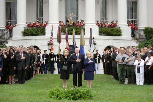 Vice President Dick Cheney and Lynne Cheney stand with former Prime Minister Margaret Thatcher of Great Britain for a moment of silence on the South Lawn September 11, 2006, to commemorate the fifth anniversary of the September 11th terrorist attacks. White House photo by Shealah Craighead