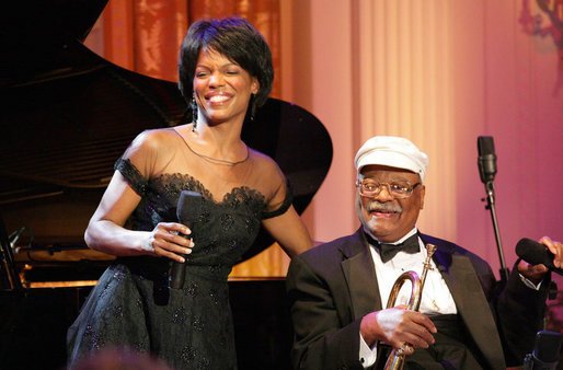 Vocalist Nnenna Freelon and musician Clark Terry perform Thursday, Sept. 14, 2006, in the East Room of the White House during the Thelonious Monk Institute of Jazz dinner. White House photo by Shealah Craighead