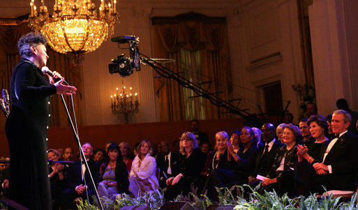 "President George W. Bush and Mrs. Laura Bush listen as vocalist Anita Baker sings ""My Funny Valentine"" Thursday, Sept. 14, 2006, during an evening of festivities surrounding the Thelonious Monk Institute of Jazz dinner at the White House. White House photo by Shealah Craighead"
