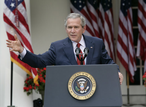 President George W. Bush holds a press conference in the Rose Garden Friday, Sept. 15, 2006. White House photo by Eric Draper