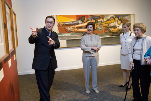 "Mrs. Laura Bush and her mother, Jenna Welch, far right, are guided by Mr. Alfonso Miranda Márquez, far left, and Ms. Pilar O'Leary, center, on a tour of the exhibit, ""Myths, Mortals, and Immortals: Works from Museo Soumaya de Mexico,"" at the Smithsonian International Gallery in Washington, D.C., Friday, Sept. 15, 2006. September 15 marks the first day of Hispanic Heritage Month. White House photo by Shealah Craighead"