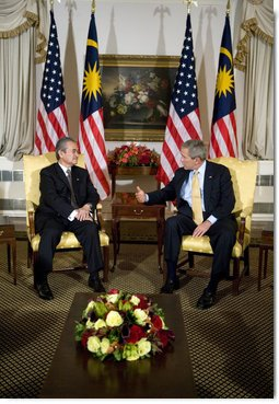 President George W. Bush meets with Prime Minister Abdullah bin Ahmad Badawi of Malaysia, Monday, Sept. 18, 2006, during the President's visit to New York City for the United Nations General Assembly. White House photo by Eric Draper
