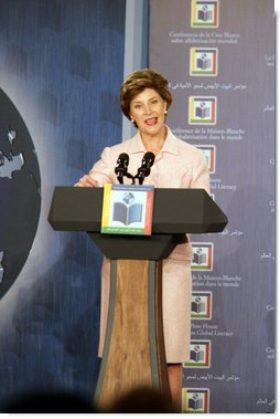 Mrs. Laura Bush delivers opening remarks Monday, Sept. 18, 2006, during the White House Conference on Global Literacy. The program was held at the New York Public Library.  White House photo by Shealah Craighead